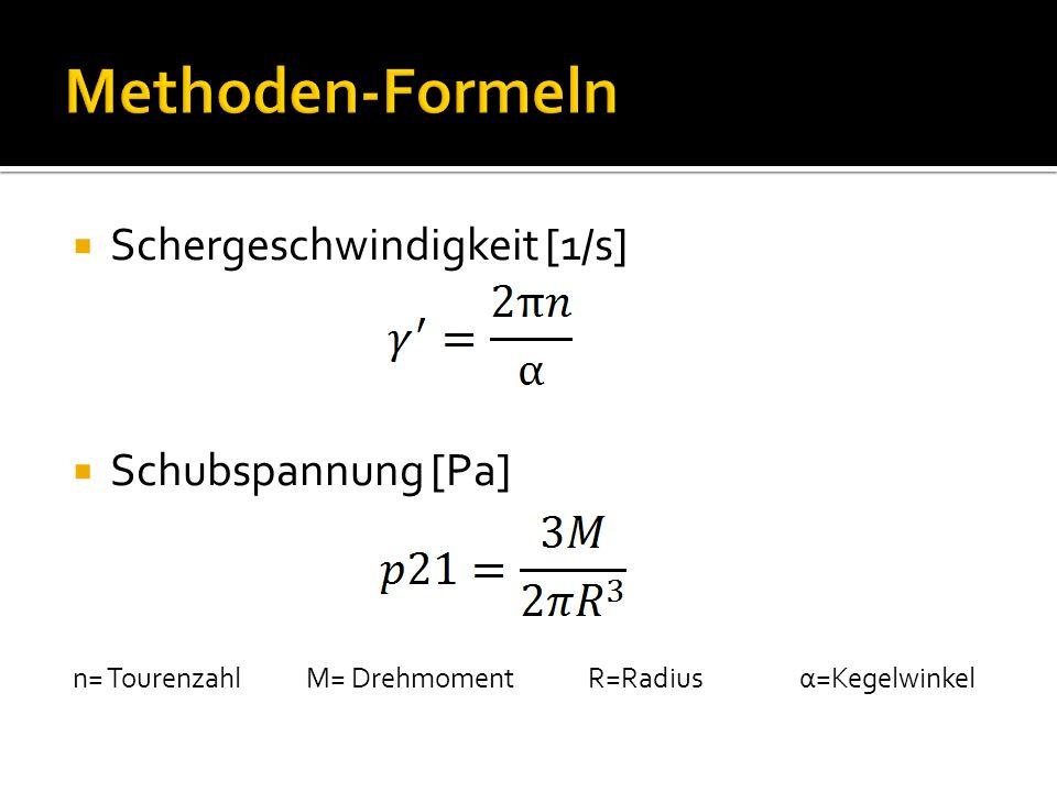 Schergeschwindigkeit [1/s] Schubspannung [Pa] n= Tourenzahl M= Drehmoment R=Radius α=Kegelwinkel