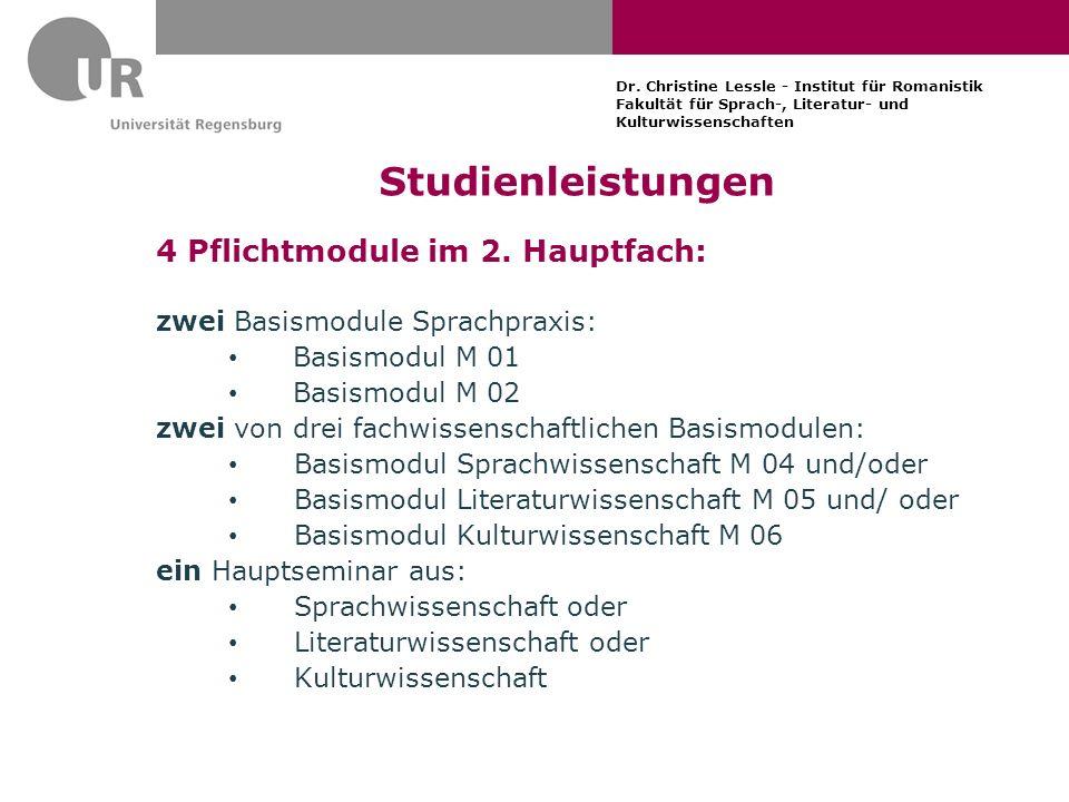 Studienleistungen 4 Pflichtmodule im 2. Hauptfach: zwei Basismodule Sprachpraxis: Basismodul M 01 Basismodul M 02 zwei von drei fachwissenschaftlichen