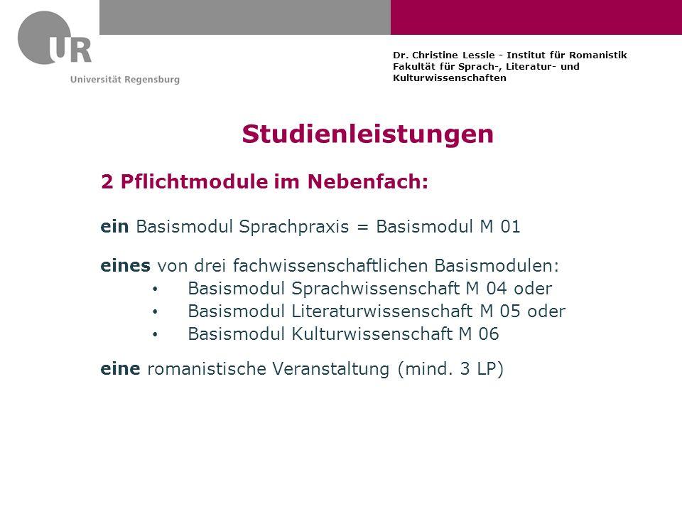 Studienleistungen 2 Pflichtmodule im Nebenfach: ein Basismodul Sprachpraxis = Basismodul M 01 eines von drei fachwissenschaftlichen Basismodulen: Basi