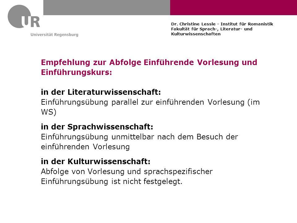 Dr. Christine Lessle - Institut für Romanistik Fakultät für Sprach-, Literatur- und Kulturwissenschaften Empfehlung zur Abfolge Einführende Vorlesung