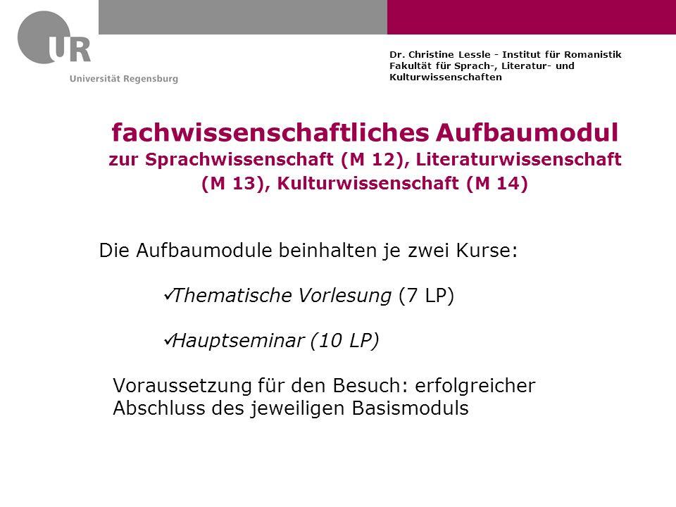 Dr. Christine Lessle - Institut für Romanistik Fakultät für Sprach-, Literatur- und Kulturwissenschaften fachwissenschaftliches Aufbaumodul zur Sprach