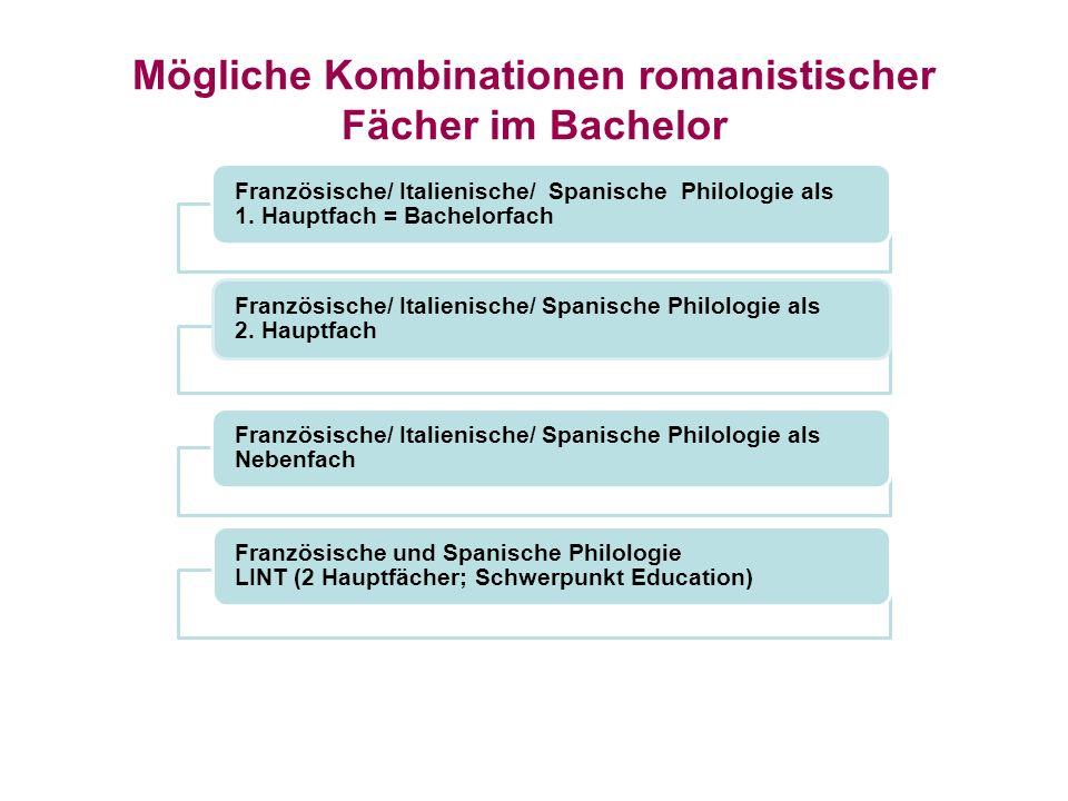 Französische/ Italienische/ Spanische Philologie als 1. Hauptfach = Bachelorfach Französische/ Italienische/ Spanische Philologie als 2. Hauptfach Fra
