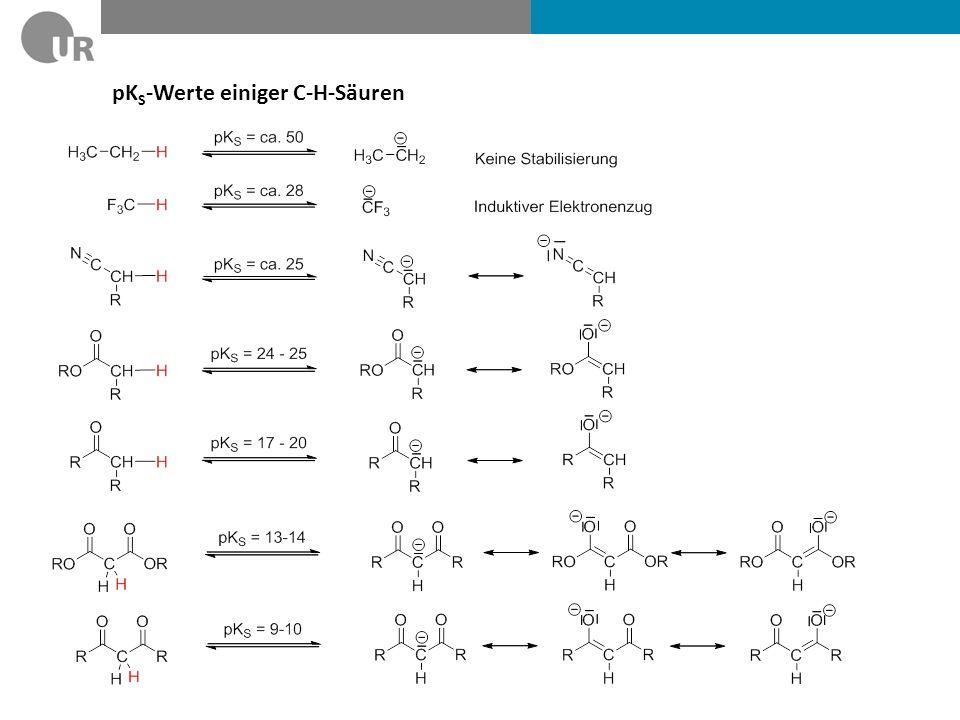 Reaktivität C-H-acider Carbonylverbindungen Weiche NucleophileHarte Nucleophile Regiochemie der Deprotonierung: Kinetische KontrolleThermodynamische Kontrolle