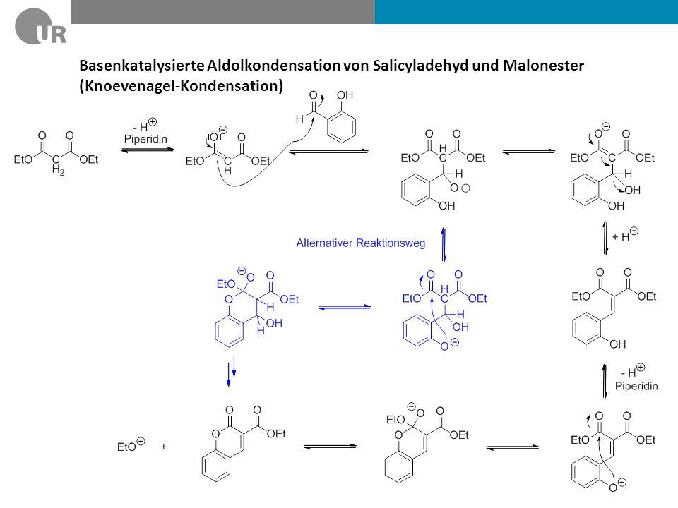 Benzaldehyd und Acetanhydrid (Zimtsäuresynthese nach Perkin) Intramolkulare Esterbildung schneller als E1cB (6-gliedriger ÜZ!) Gute Abgangsgruppe