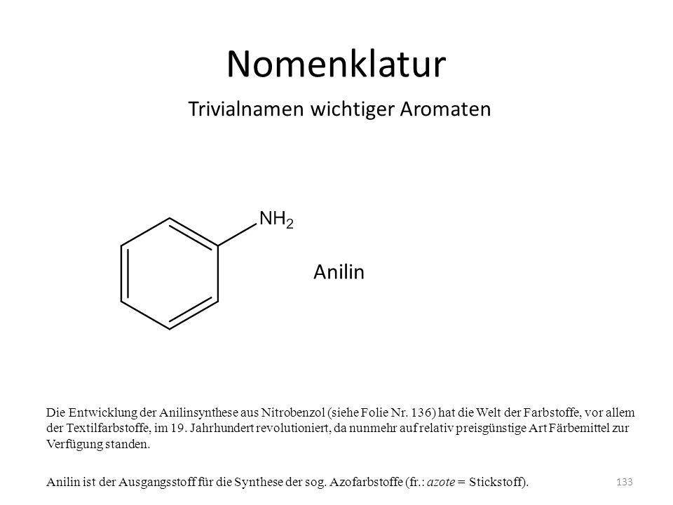 Nomenklatur Die Entwicklung der Anilinsynthese aus Nitrobenzol (siehe Folie Nr. 136) hat die Welt der Farbstoffe, vor allem der Textilfarbstoffe, im 1