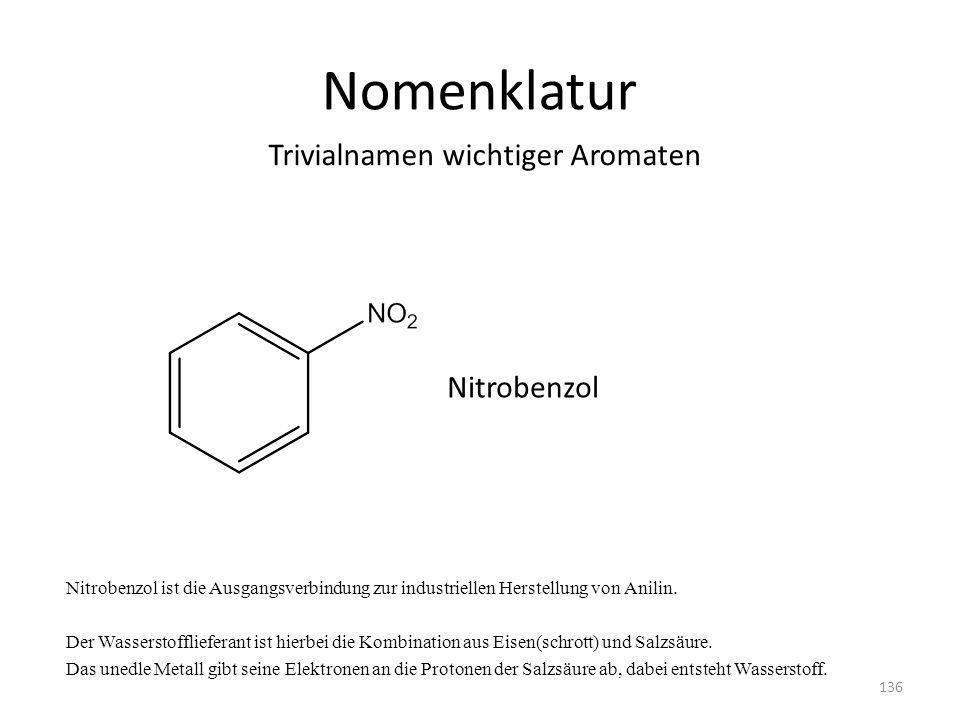 Nomenklatur Nitrobenzol ist die Ausgangsverbindung zur industriellen Herstellung von Anilin. Der Wasserstofflieferant ist hierbei die Kombination aus