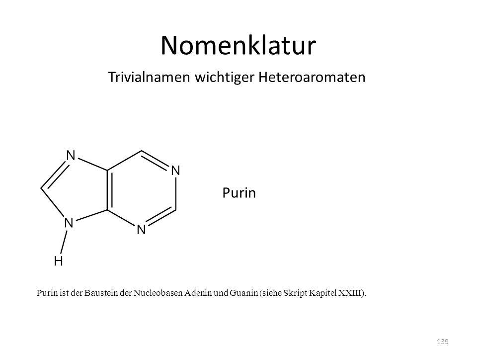 Nomenklatur Trivialnamen wichtiger Heteroaromaten Purin 139 Purin ist der Baustein der Nucleobasen Adenin und Guanin (siehe Skript Kapitel XXIII).