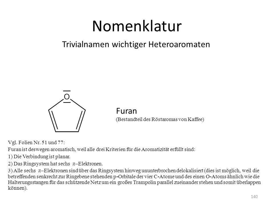 Nomenklatur Vgl. Folien Nr. 51 und 77: Furan ist deswegen aromatisch, weil alle drei Kriterien für die Aromatizität erfüllt sind: 1) Die Verbindung is