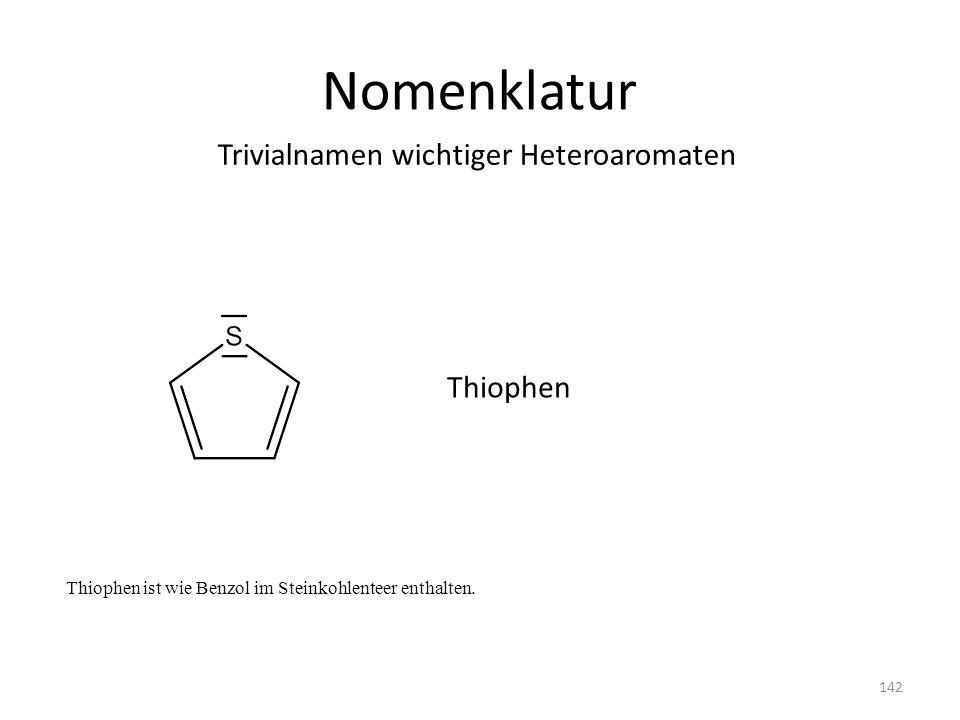Nomenklatur Thiophen ist wie Benzol im Steinkohlenteer enthalten. Trivialnamen wichtiger Heteroaromaten Thiophen 142