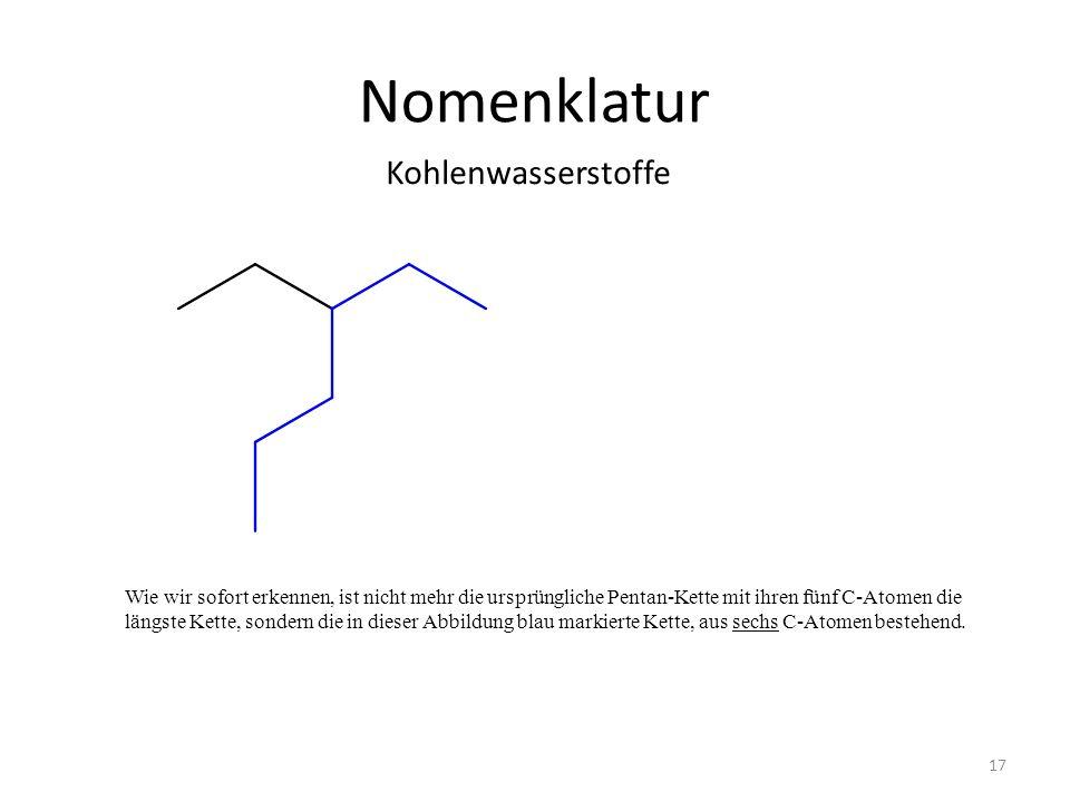 Nomenklatur Kohlenwasserstoffe 17 Wie wir sofort erkennen, ist nicht mehr die ursprüngliche Pentan-Kette mit ihren fünf C-Atomen die längste Kette, so