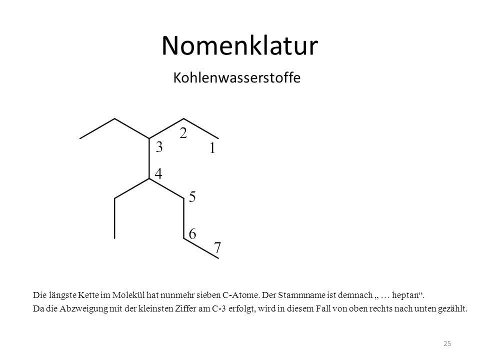 Nomenklatur Die längste Kette im Molekül hat nunmehr sieben C-Atome. Der Stammname ist demnach … heptan. Da die Abzweigung mit der kleinsten Ziffer am
