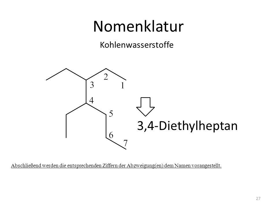 Nomenklatur Abschließend werden die entsprechenden Ziffern der Abzweigung(en) dem Namen vorangestellt. 3,4-Diethylheptan Kohlenwasserstoffe 27