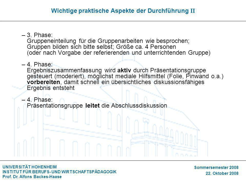 UNIVERSITÄT HOHENHEIM INSTITUT FÜR BERUFS- UND WIRTSCHAFTSPÄDAGOGIK Prof. Dr. Alfons Backes-Haase Sommersemester 2008 22. Oktober 2008 Wichtige prakti