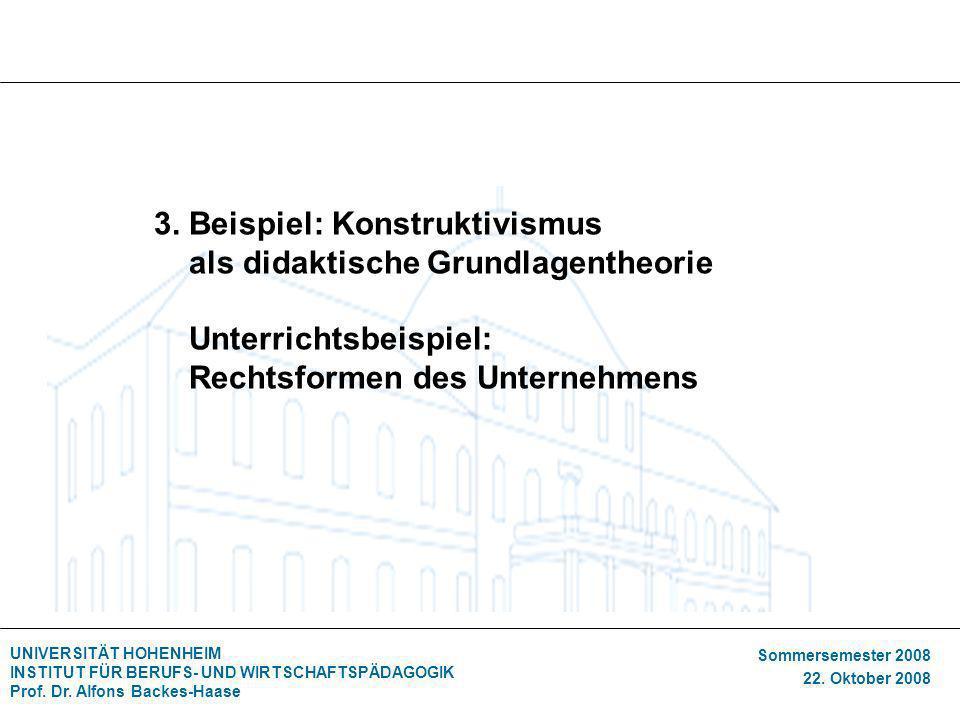 UNIVERSITÄT HOHENHEIM INSTITUT FÜR BERUFS- UND WIRTSCHAFTSPÄDAGOGIK Prof. Dr. Alfons Backes-Haase Sommersemester 2008 22. Oktober 2008 3. Beispiel: Ko
