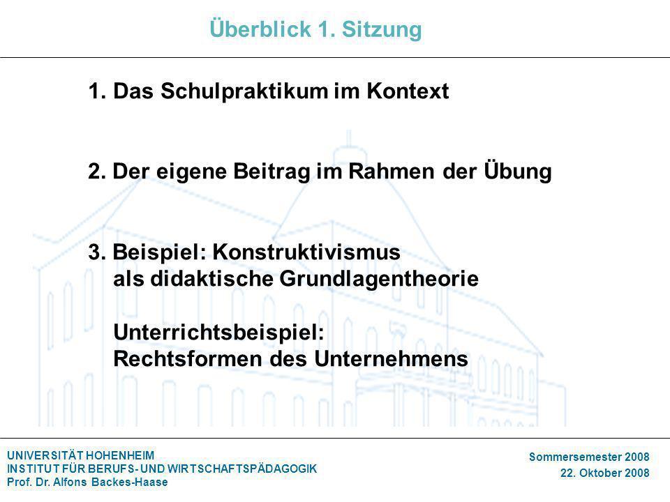 UNIVERSITÄT HOHENHEIM INSTITUT FÜR BERUFS- UND WIRTSCHAFTSPÄDAGOGIK Prof. Dr. Alfons Backes-Haase Sommersemester 2008 22. Oktober 2008 Überblick 1. Si