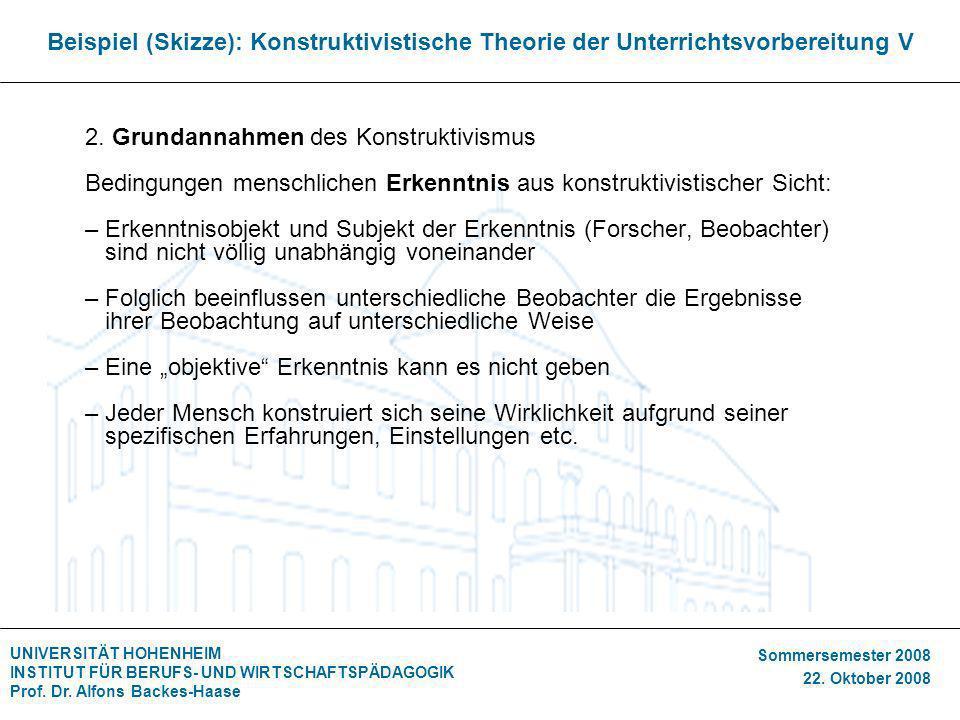 UNIVERSITÄT HOHENHEIM INSTITUT FÜR BERUFS- UND WIRTSCHAFTSPÄDAGOGIK Prof. Dr. Alfons Backes-Haase Sommersemester 2008 22. Oktober 2008 Beispiel (Skizz