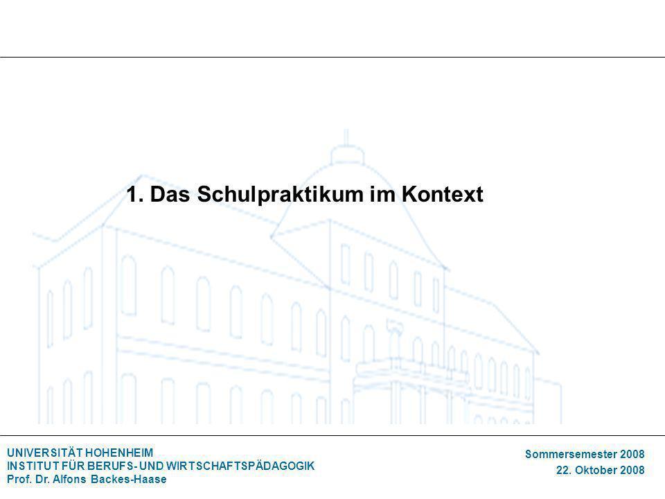 UNIVERSITÄT HOHENHEIM INSTITUT FÜR BERUFS- UND WIRTSCHAFTSPÄDAGOGIK Prof. Dr. Alfons Backes-Haase Sommersemester 2008 22. Oktober 2008 1. Das Schulpra