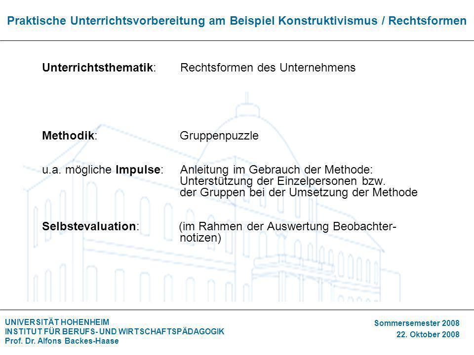 UNIVERSITÄT HOHENHEIM INSTITUT FÜR BERUFS- UND WIRTSCHAFTSPÄDAGOGIK Prof. Dr. Alfons Backes-Haase Sommersemester 2008 22. Oktober 2008 Praktische Unte