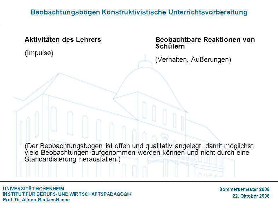 UNIVERSITÄT HOHENHEIM INSTITUT FÜR BERUFS- UND WIRTSCHAFTSPÄDAGOGIK Prof. Dr. Alfons Backes-Haase Sommersemester 2008 22. Oktober 2008 Beobachtungsbog