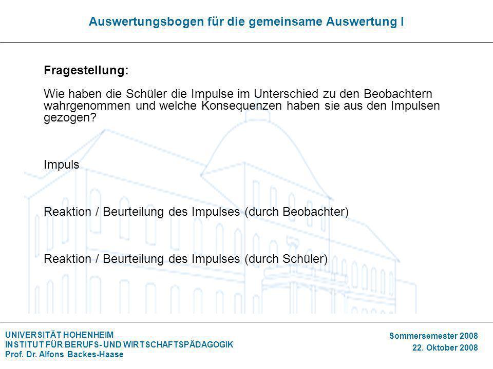 UNIVERSITÄT HOHENHEIM INSTITUT FÜR BERUFS- UND WIRTSCHAFTSPÄDAGOGIK Prof. Dr. Alfons Backes-Haase Sommersemester 2008 22. Oktober 2008 Auswertungsboge