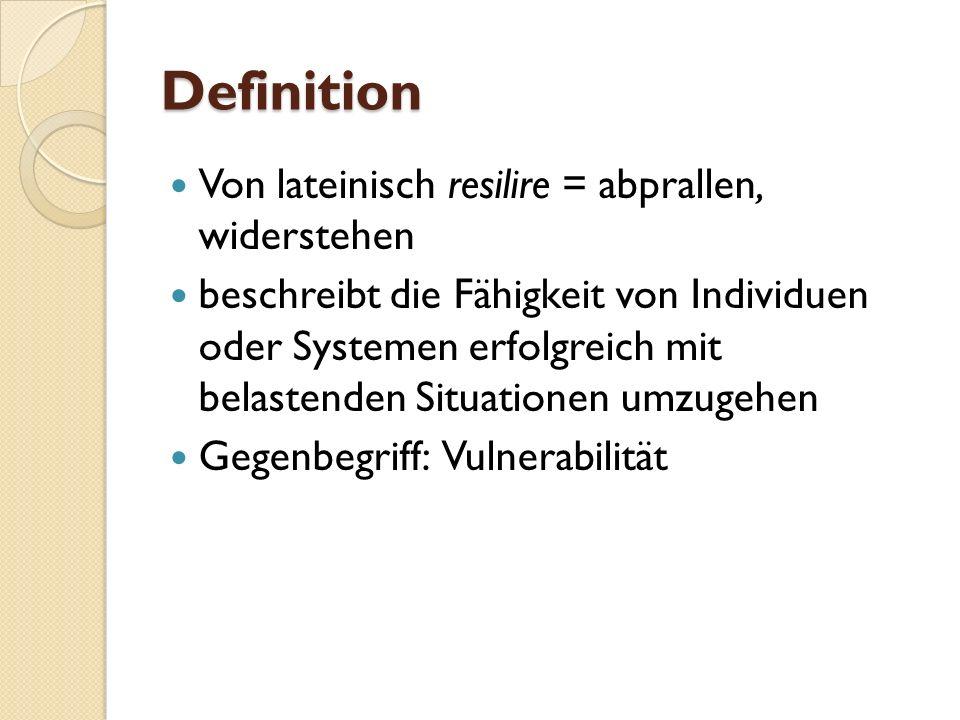 Definition Von lateinisch resilire = abprallen, widerstehen beschreibt die Fähigkeit von Individuen oder Systemen erfolgreich mit belastenden Situatio