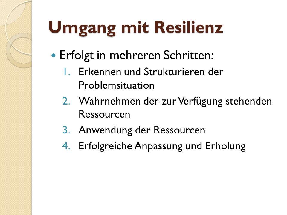Umgang mit Resilienz Erfolgt in mehreren Schritten: 1.Erkennen und Strukturieren der Problemsituation 2.Wahrnehmen der zur Verfügung stehenden Ressour