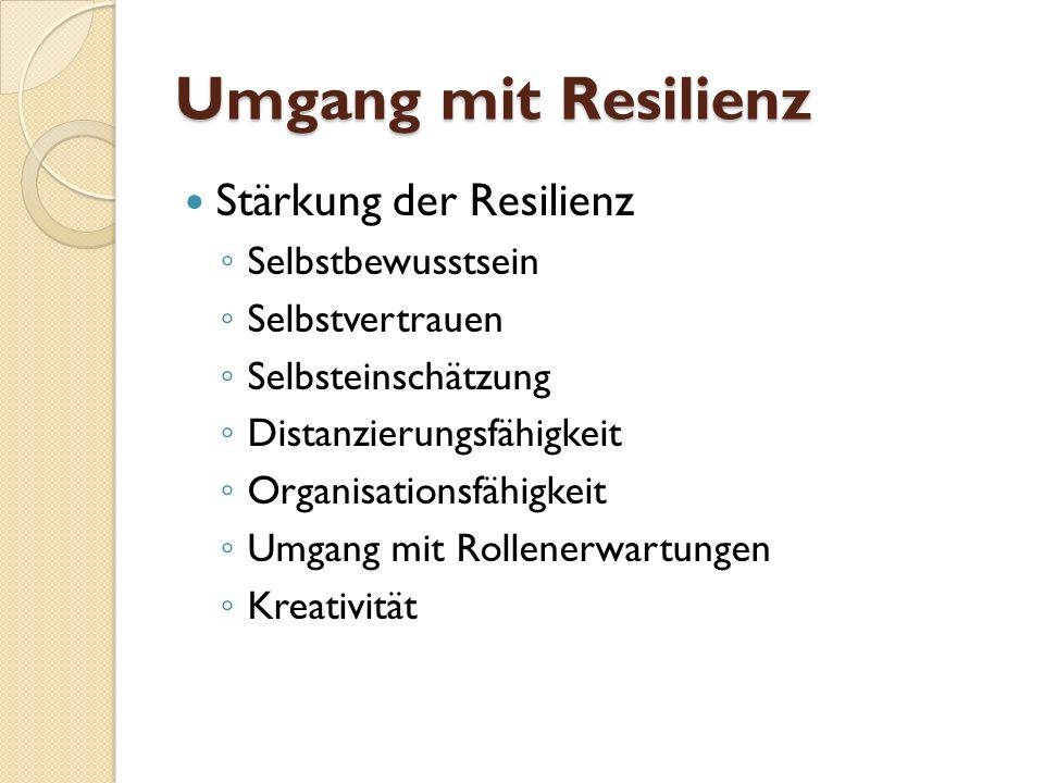 Umgang mit Resilienz Stärkung der Resilienz Selbstbewusstsein Selbstvertrauen Selbsteinschätzung Distanzierungsfähigkeit Organisationsfähigkeit Umgang