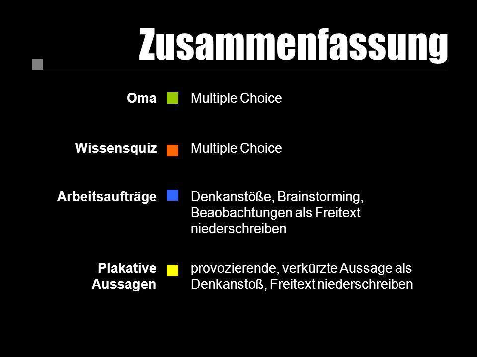 Zusammenfassung OmaMultiple Choice WissensquizMultiple Choice ArbeitsaufträgeDenkanstöße, Brainstorming, Beaobachtungen als Freitext niederschreiben P