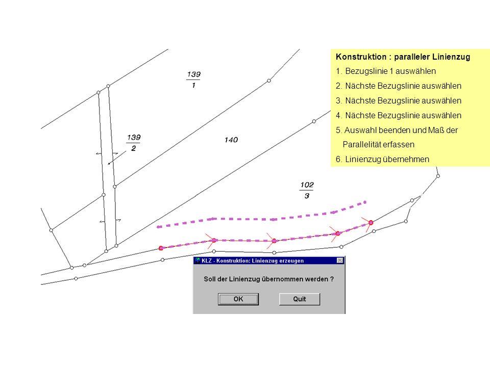 Konstruktion : paralleler Linienzug 1. Bezugslinie 1 auswählen 2.