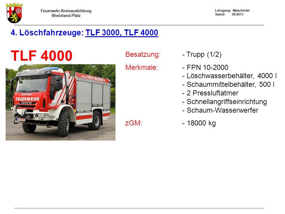 Feuerwehr-Kreisausbildung Rheinland-Pfalz Lehrgang: Maschinist Stand: 08/2013 4. Löschfahrzeuge: TLF 3000, TLF 4000 TLF 4000 Besatzung:- Trupp (1/2) M