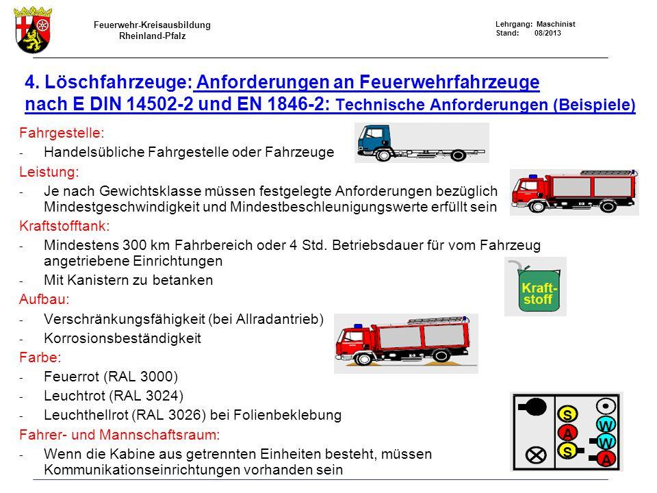 Feuerwehr-Kreisausbildung Rheinland-Pfalz Lehrgang: Maschinist Stand: 08/2013 4. Löschfahrzeuge: Anforderungen an Feuerwehrfahrzeuge nach E DIN 14502-