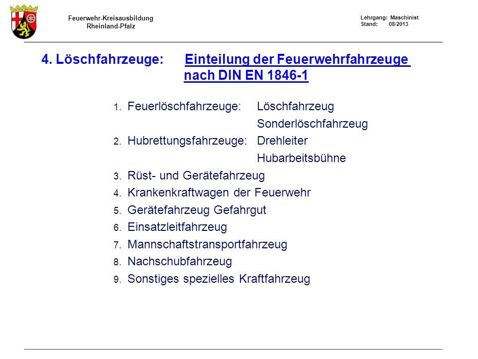 Feuerwehr-Kreisausbildung Rheinland-Pfalz Lehrgang: Maschinist Stand: 08/2013 4. Löschfahrzeuge: Einteilung der Feuerwehrfahrzeuge nach DIN EN 1846-1