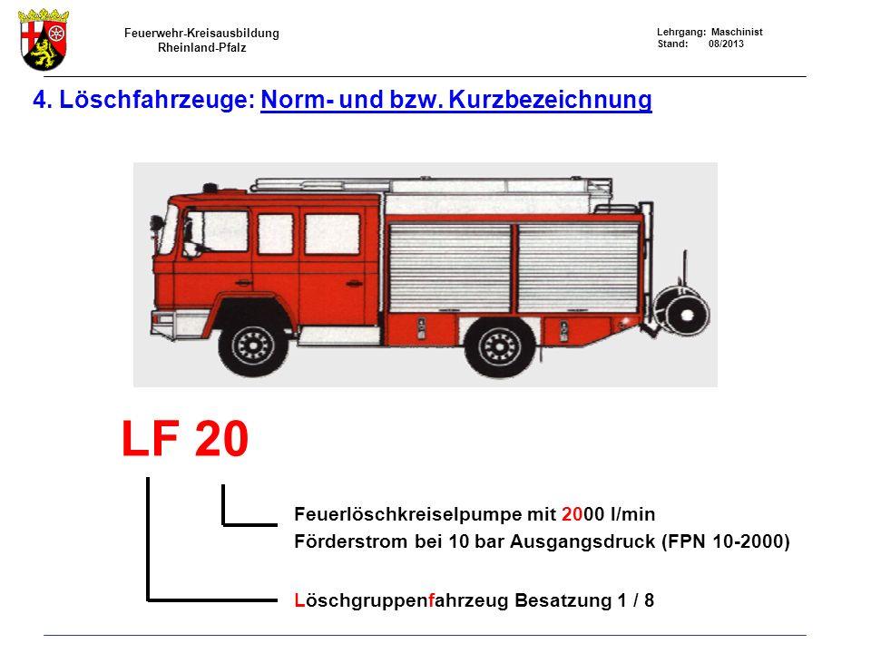 Feuerwehr-Kreisausbildung Rheinland-Pfalz Lehrgang: Maschinist Stand: 08/2013 4. Löschfahrzeuge: Norm- und bzw. Kurzbezeichnung LF 20 Feuerlöschkreise