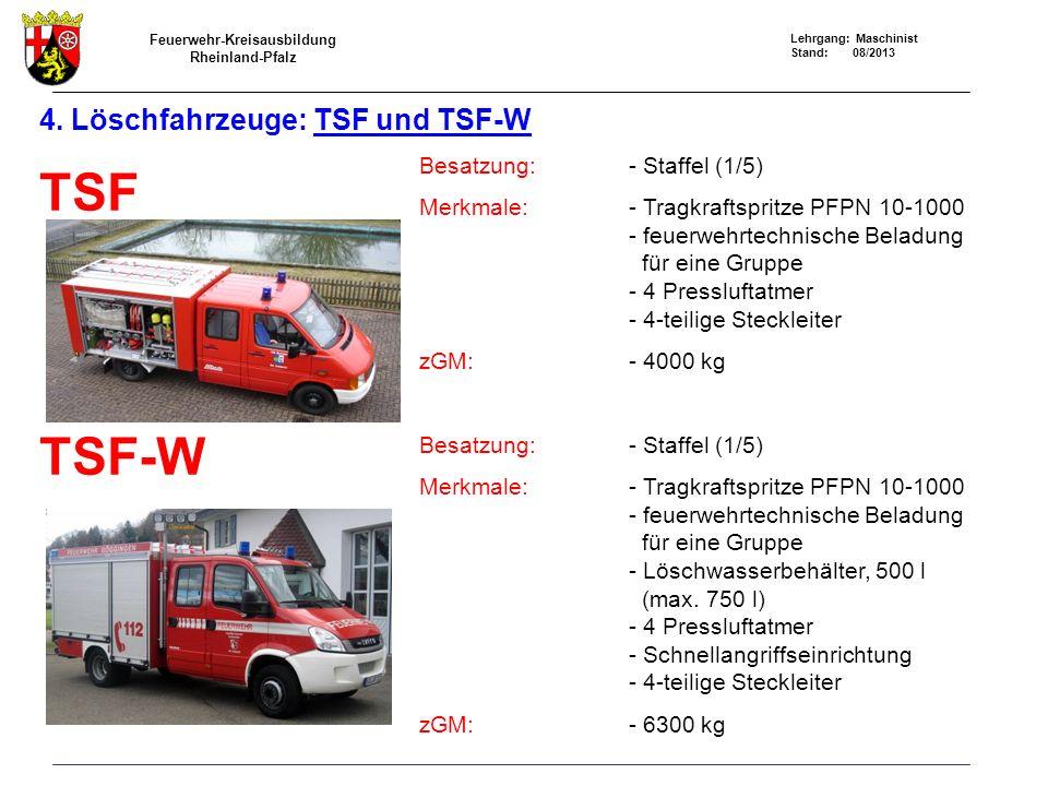 Feuerwehr-Kreisausbildung Rheinland-Pfalz Lehrgang: Maschinist Stand: 08/2013 4. Löschfahrzeuge: TSF und TSF-W TSF TSF-W Besatzung:- Staffel (1/5) Mer