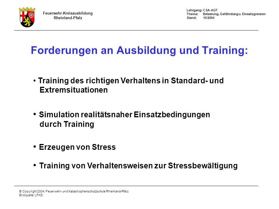 Feuerwehr-Kreisausbildung Rheinland-Pfalz Lehrgang: CSA-AGT Thema: Belastung, Gefährdung u. Einsatzgrenzen Stand: 10/2004 © Copyright 2004: Feuerwehr-