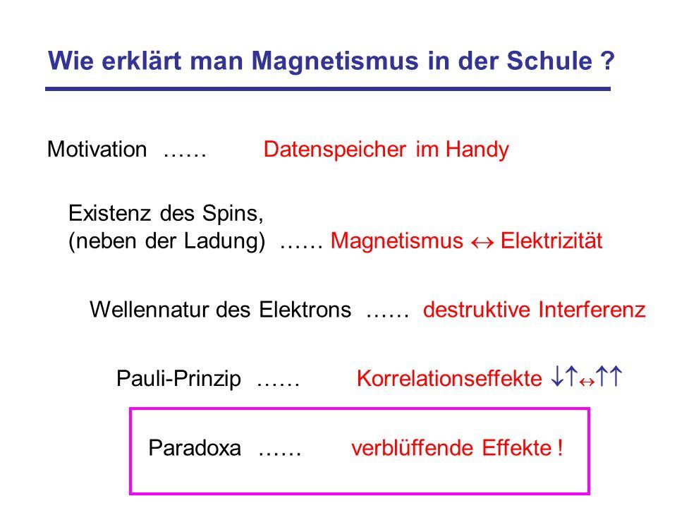 Wie erklärt man Magnetismus in der Schule ? Motivation …… Datenspeicher im Handy Existenz des Spins, (neben der Ladung) …… Magnetismus Elektrizität Pa
