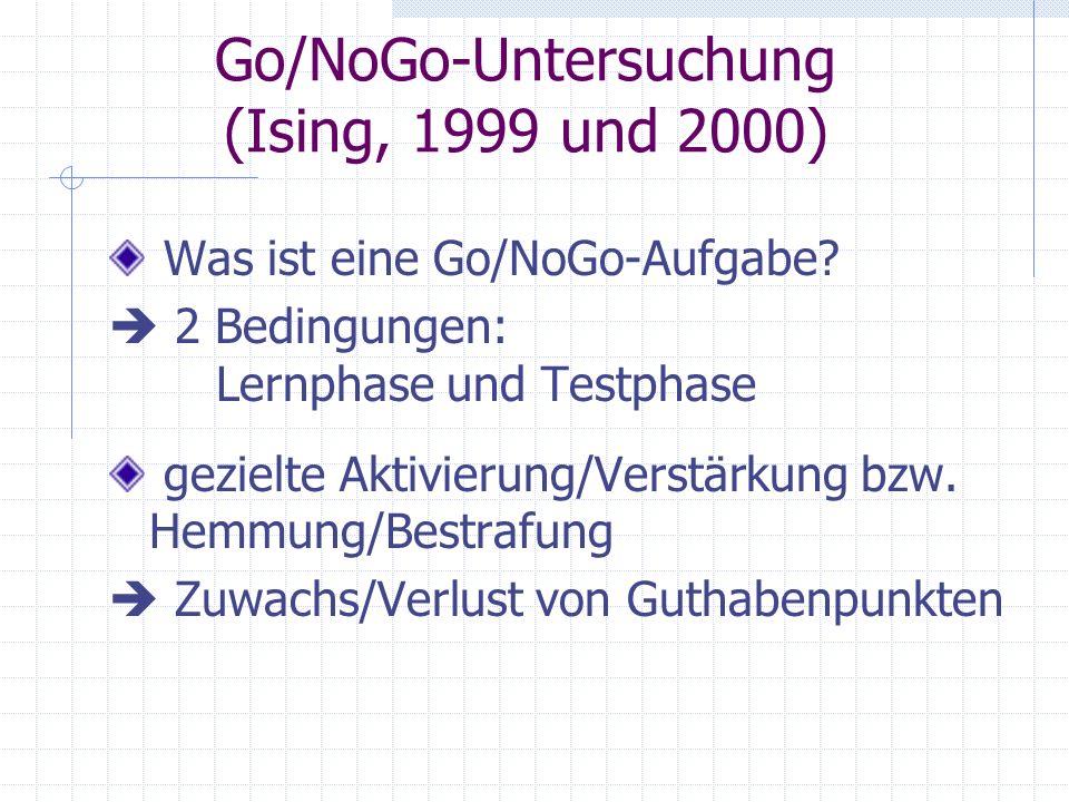 Go/NoGo-Untersuchung (Ising, 1999 und 2000) Was ist eine Go/NoGo-Aufgabe? 2 Bedingungen: Lernphase und Testphase gezielte Aktivierung/Verstärkung bzw.