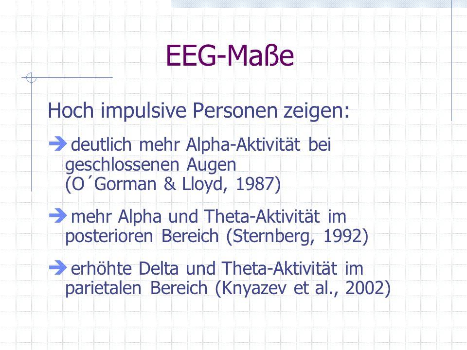EEG-Maße Hoch impulsive Personen zeigen: deutlich mehr Alpha-Aktivität bei geschlossenen Augen (O´Gorman & Lloyd, 1987) mehr Alpha und Theta-Aktivität