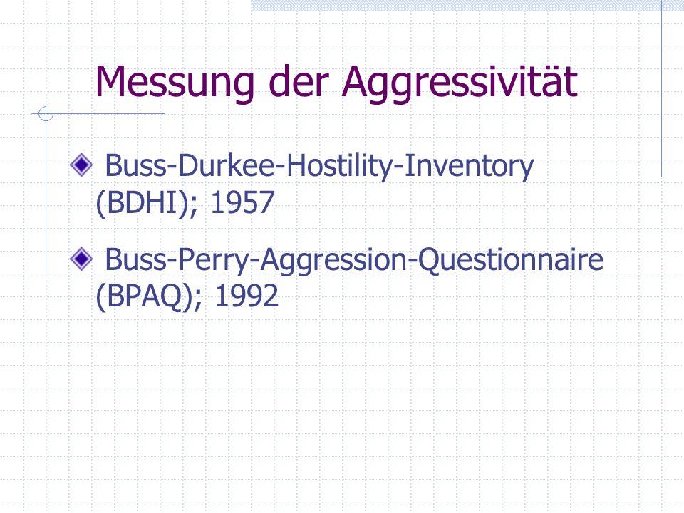 Messung der Aggressivität Buss-Durkee-Hostility-Inventory (BDHI); 1957 Buss-Perry-Aggression-Questionnaire (BPAQ); 1992