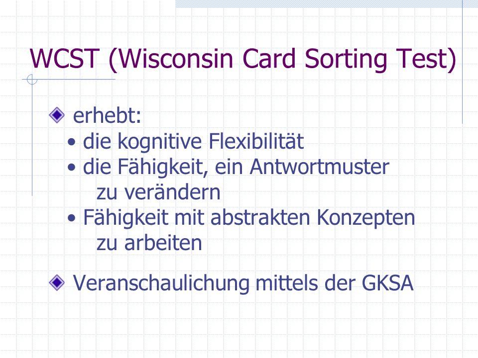 WCST (Wisconsin Card Sorting Test) erhebt: die kognitive Flexibilität die Fähigkeit, ein Antwortmuster zu verändern Fähigkeit mit abstrakten Konzepten
