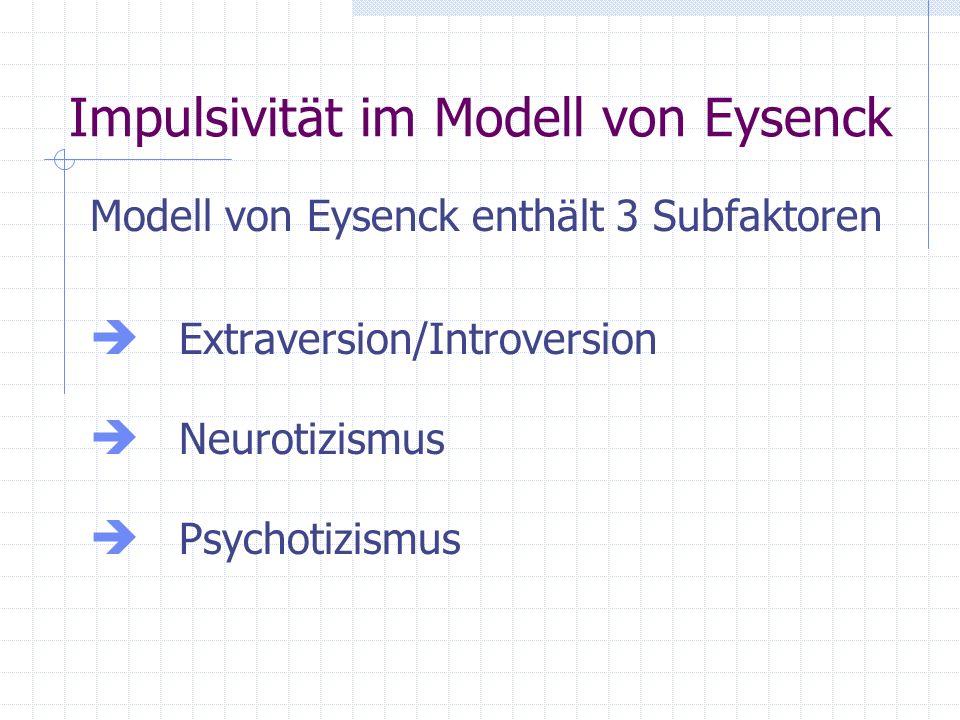 Ursprüngliche Konzeption – Extraversionsorientiert Eysenk (1967): Spontanität Kurzentschlossenheit Risikobereitschaft Barratt (1985): motorische Impulsivität kognitive Impulsivität non-planning impulsiveness