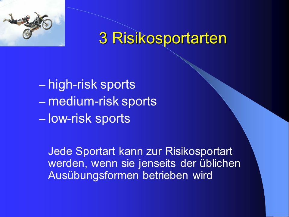3 Risikosportarten – high-risk sports – medium-risk sports – low-risk sports Jede Sportart kann zur Risikosportart werden, wenn sie jenseits der üblic