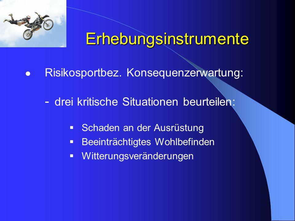 Erhebungsinstrumente Risikosportbez. Konsequenzerwartung: - drei kritische Situationen beurteilen: Schaden an der Ausrüstung Beeinträchtigtes Wohlbefi