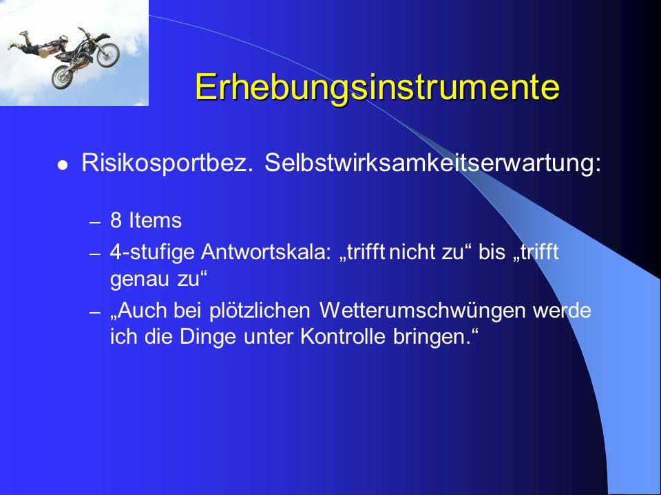 Erhebungsinstrumente Risikosportbez. Selbstwirksamkeitserwartung: – 8 Items – 4-stufige Antwortskala: trifft nicht zu bis trifft genau zu – Auch bei p