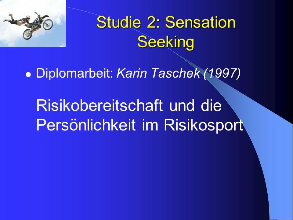 Studie 2: Sensation Seeking Diplomarbeit: Karin Taschek (1997) Risikobereitschaft und die Persönlichkeit im Risikosport