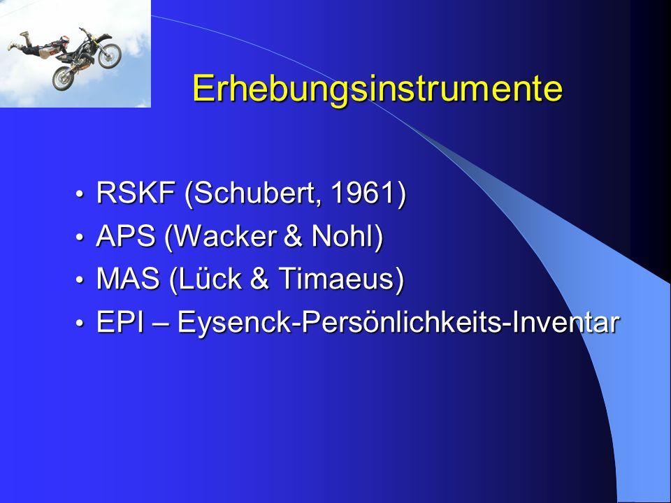 Erhebungsinstrumente RSKF (Schubert, 1961) RSKF (Schubert, 1961) APS (Wacker & Nohl) APS (Wacker & Nohl) MAS (Lück & Timaeus) MAS (Lück & Timaeus) EPI