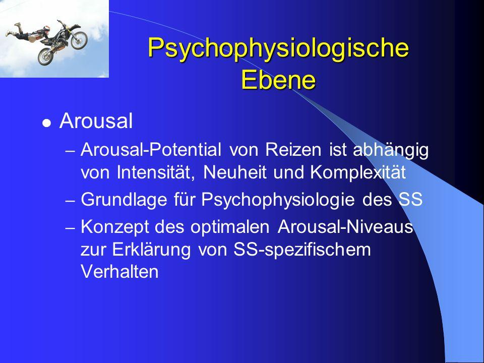 Psychophysiologische Ebene Arousal – Arousal-Potential von Reizen ist abhängig von Intensität, Neuheit und Komplexität – Grundlage für Psychophysiolog