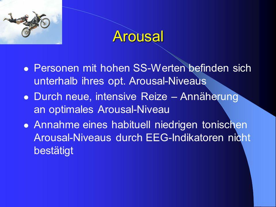 Arousal Personen mit hohen SS-Werten befinden sich unterhalb ihres opt. Arousal-Niveaus Durch neue, intensive Reize – Annäherung an optimales Arousal-