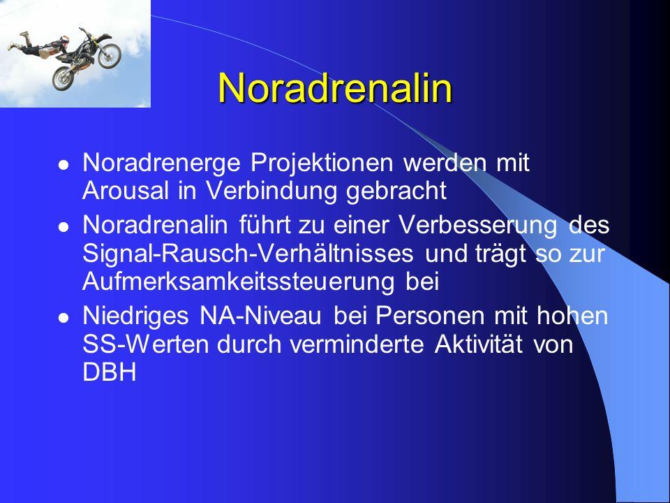 Noradrenalin Noradrenerge Projektionen werden mit Arousal in Verbindung gebracht Noradrenalin führt zu einer Verbesserung des Signal-Rausch-Verhältnis