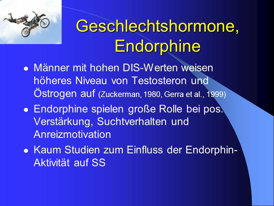 Geschlechtshormone, Endorphine Männer mit hohen DIS-Werten weisen höheres Niveau von Testosteron und Östrogen auf (Zuckerman, 1980, Gerra et al., 1999